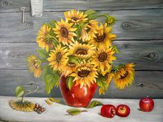 Nadja Meihack, 2014, Sonnenblumen mit Äpfeln, Öl auf Leinwand