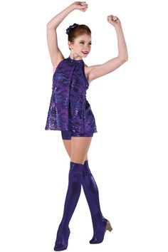 Style#  17218 HOT STEPPIN'  Purple foil printed spandex short halter unitard with attached sequined mesh tunic. Spandex binding trim. Headpiece and boot covers included. SC-XXLA