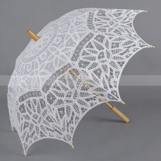 Planning a Victorian inspired or outdoor wedding? This battenburg lace parasol will add an elegant touch to your special day, while blocking the sun. The battenburg lace on this parasol is reminiscent of a Victorian stain glass window and Sun Parasol, Lace Umbrella, Lace Parasol, Umbrella Wedding, Wedding Umbrellas, Vintage Umbrella, Diy Wedding Reception, Wedding Ideas, Wedding Stuff