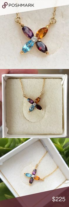 """NEW 10K YG Diamond & Multi Gemstone Necklace Genuine blue topaz, amethyst, citrine and garnet marquis stones in 10k yellow gold with a diamond in the center!  New and never worn!  Measures 17"""" long.  So much prettier in person. This would make a great gift. Jewelry Necklaces"""