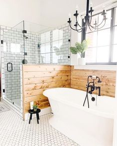 modern farmhouse bathroom design with pedestal free standing bathtub and rustic wood shiplap, white hex floor tile, white subway shower tile, modern farmhouse shower in bathroom decor, neutral rustic master bathroom design Br House, House Rooms, Dream Bathrooms, Beautiful Bathrooms, Log Cabin Bathrooms, Modern Bathrooms, Master Bathrooms, Home Decor Inspiration, Decor Ideas