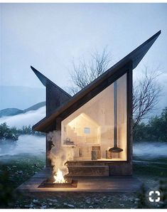 I love how the lines of the roof meet to make a house shape inside. Carpineto Mountain Refuge near Italy, concept design by Architect Massimo Gnocchi Tiny House Cabin, Tiny House Living, Cozy House, Cozy Cabin, Casas Containers, Cabin In The Woods, Exterior Design, Architecture Design, Architecture Definition