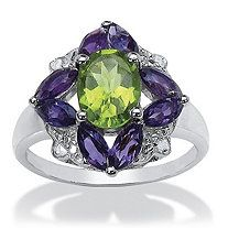 2.56 TCW Oval-Cut Genuine Peridot, Amethyst and Diamond Accent Ring in .925 Sterling Silver