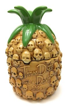 Three Dots And A Dash Skull Pineapple Tiki Mug Limited Release Maasen Chicago  | eBay