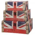 Zin Home's Storage cubes, Storage trunks and Storage trunk chests bring style to any room. Storage cubes, trunks and chests are durable made out of Eco-Friendly materials Antique Farmhouse, Farmhouse Decor, Union Jack Decor, Driven By Decor, Union Flags, Trunks And Chests, Coffee Table With Storage, London Calling, Timeless Design