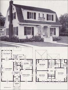 1920s Vintage Home Plans - Dutch Colonial Revival - The Washington - Standard Homes Company