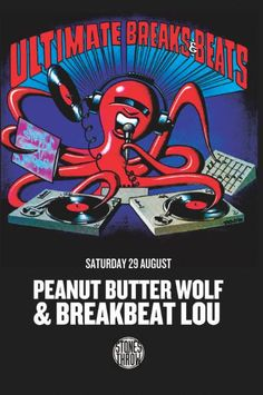 Saturday Aug 29 - Peanut Butter Wolf & Breakbeat Lou at Peanut Butter Wolf, Sugar Club, Story Time, Comic Books, Comics, Poster, Posters, Cartoons, Cartoons