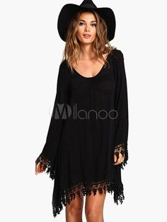 Magnifique robe droite mode coton noir avec frange