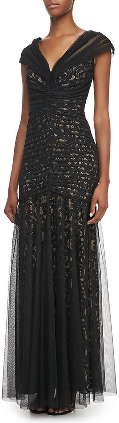 Tadashi Shoji V-Neck Lace and Tulle Gown on shopstyle.com