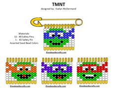 tmnt.gif 720×542 pixels Safety Pin Art, Safety Pin Crafts, Safety Pin Jewelry, Safety Pins, Native Beading Patterns, Pony Bead Patterns, Beaded Jewelry Patterns, Beaded Crafts, Beaded Ornaments