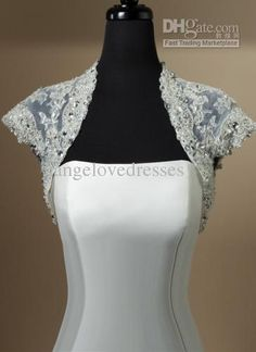 Wholesale Short Sleeves Ivory Net/Silver Lace Applique/Rhinestones Jacket Bolero For Wedding Dress Gown A023, $66.17/Piece | DHgate
