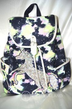 JUSTICE GIRLS SEQUIN BACKPACK RUCKSACK PONY TOTE DANCE BOOK BAG PURSE