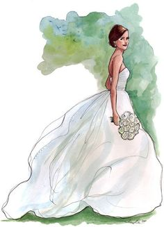 Beautiful idea...having a sketch made of the bride in her wedding dress... #weddingart #bridesketch