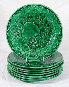 Set of Eight Antique Green Majolica Dishes image 2