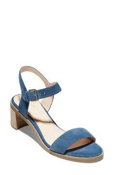 Cole Haan Grand Ambition Anette Sandal In Vintage Indigo Leather Cole Haan Shoes, Luxury Branding, Designer Shoes, Block Heels, Open Toe, Indigo, Shoes Sandals, Nordstrom, Wedges
