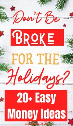 Don't Be Broke On Christmas! 21 Easy Ways To Make Christmas Gift Money! Ways To Save Money, Money Tips, Money Saving Tips, Make Money Online, How To Make Money, Money Today, Budget Holidays, Savings Planner, Thing 1
