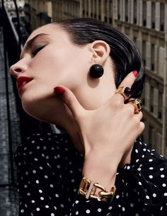 awesome Manon Leloup is a gold jewelry beauty for Vogue Russia August 2015 by Bjarne Jonasson  [Fashion]