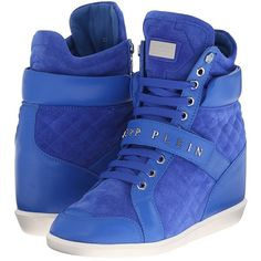Philipp Plein High Top Sneaker Women's Lace up casual Shoes found on Polyvore featuring shoes, sneakers, blue, hidden wedge sneakers, high top shoes, blue sneakers, leather high top sneakers and blue high tops