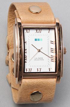 2229e2a4214 La Mer The Arabic Dial Watch With Rose Gold Square faced watch on 9 leather  strap with adjustable buckle closure  By La Mer