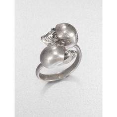 Alexander McQueen Twin Skull Ring ($195) ❤ liked on Polyvore