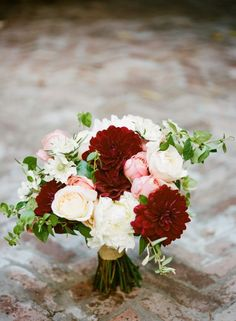 burgundy dahlias and blush peonies for a bridal bouquet