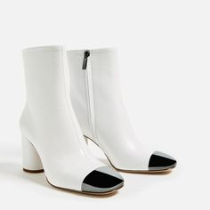 HIGH HEEL LEATHER ANKLE BOOTS WITH METALLIC TOE - Available in more colours