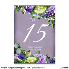 Ivory & Purple Hydrangeas | Purple Wedding Table Number Purple Wedding Tables, Wedding Table Numbers, Wedding Color Schemes, Wedding Colors, Table Cards, Vintage Gifts, Colorful Backgrounds, Purple Hydrangeas, Wedding Decorations