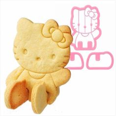 3D HELLO KITTY Pink Plastic Cookie Bread by UNIQUECOOKIECUTTERS