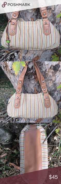 """Fossil Satchel Beautiful multicolored woven canvas carpet bag style Satchel. Lots of compartments and pockets. 9"""" strap drop. 15x9x4.5 Fossil Bags Satchels"""
