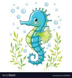 Illustration of Cute cartoon Sea horse isolated. Seahorse and algae on a white background, vector illustration. vector art, clipart and stock vectors. Seahorse Cartoon, Seahorse Drawing, Cartoon Sea Animals, Seahorse Art, Seahorses, Seahorse Painting, Cartoon Drawings, Animal Drawings, Mermaid Clipart