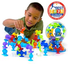 $24.95 Starter Set has 24 Pieces, Deluxe Set has 50 Pieces Squigz Squigz are fun little suckers!  Apply pressure to two Squigz. Air rushes out and the fun rushes in! Connecting to each other and to any solid, non-porous surface - Squigz are a species all their own. They flex. They stick. They suck people into creativity.