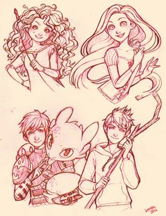 The Big Four - Merida, Rapunzel, Hiccup, and Jack Frost