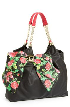 Free shipping and returns on Betsey Johnson 'Bowlicious' Tote at Nordstrom.com. An oversized bow puts Betsey Johnson's signature, playful spin on a spacious, slouchy tote finished with polished goldtone hardware and chain-detailed straps.