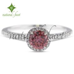 0.99ct Ideal Pink-SI1 Round Diamond 18k White Gold Halo Engagement Ring
