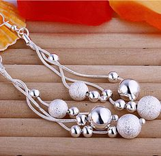 Quality 2018 Long bead silver Drop earrings ball Fashion chic gift for girl friend Valentine's Day Fine jewelry with free worldwide shipping on AliExpress Mobile Mens Sterling Silver Necklace, Silver Drop Earrings, Beaded Earrings, Silver Bracelets, Silver Wedding Rings, Silver Engagement Rings, Silver Ring, 925 Silver, Ring Engagement