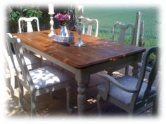 LARGE Shabby Chic farmhouse pine table and 6 chairs.5 DAY AUCTION & LOW RESERVE! Pine Table, Shabby Chic Farmhouse, Chairs, Auction, Dining Table, Amp, Ebay, Furniture, Ideas