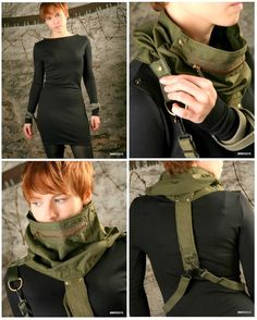 SH65   MG47 Cowl / Harness / Neck Accessory / Olive by ShtrafBat, $175.00