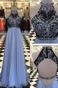Charming Prom Dress, Black and Blue Prom Dress, Halter Prom Dress, Beads Top Sleeveless Open Back Evening Gown Formal Prom Dress  by prom dresses, $168.00 USD
