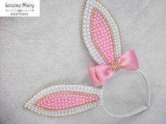 Ribbon Crafts, Flower Crafts, Diy Crafts, Homemade Headbands, Baby Headbands, Ribbon Hair Bows, Diy Hair Bows, Easter Bunny Ears, Bunny Ears Headband
