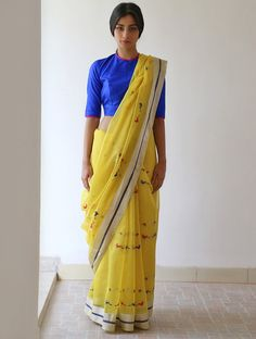 Lime Yellow Red Blue Silver Maina Chanderi & Zari #Saree By Raw Mango. Available Online At Jaypore.com.