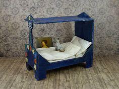 Vintage German Bavarian Bauernmalerei Canopy Bed Bedroom