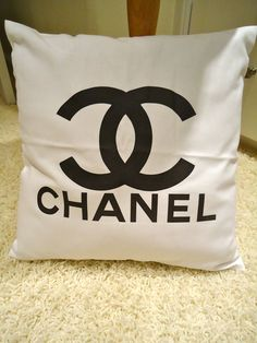 CHANEL style throw pillow decorator item 15 x 15 by cookiechanel, $45.00