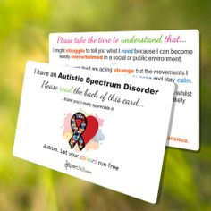 Autism Alert Card - An Autism/Aspergers alert card for you to carry around. The idea is that if you get a bit overwhelmed or you aren't able to get your point across etc, when you're out and about in public, you can hand this card over and it will just go some way to explain why you're flapping and struggling to breathe! It's also very useful from a safety and security point of view for places like airports/train stations and big cities, and to show to police etc.