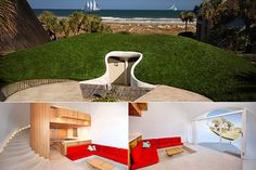 THE DUNE HOUSE by William Morgan (Atlantic Beach, Florida)~  In 1975, Morgan decided to build 2 small earth-sheltered vacation homes.  Not wanting the new house to block his view of the ocean, his solution was to bury the house in an existing sand dune.  The identical duplexes are  750 ft2 each, & barely visible from the street above.   They have smoothly curved walls & flowing stairs, & the mass of sand over & around the homes moderates the inside temperatures year-round.