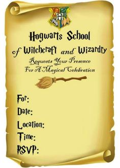 Harry Potter Party Invitation Template Best Of Diy Harry Potter Invitations Fun Money Mom Harry Potter Christmas Decorations, Harry Potter Halloween Party, Harry Potter Birthday Cake, Harry Birthday, Birthday Stuff, Halloween Kids, Birthday Ideas, Harry Potter Navidad, Harry Potter Fiesta