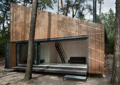 FAM Architekti completed Lake House, a tiny prefab cabin with a slatted larch facade in Czech Republic's Northern Bohemia. Prefab Cabins, Lake Cabins, Prefab Homes, Cabin Design, House Design, Lakeside View, Haus Am See, Wooden Cottage, Timber Cladding