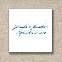 Initial Design Wedding Favor Tags | #exclusivelyweddings | #lightbluewedding