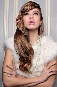 Avant Garde Hair. Braided Hairstyle by #tatianahairextensions using hair extensions and hair pieces. Chanel necklace.  Fur.