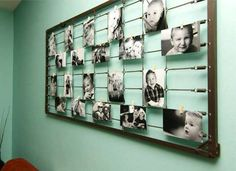 Repurposed crib bed springs can be turned into a large photo frame for displaying baby portraits