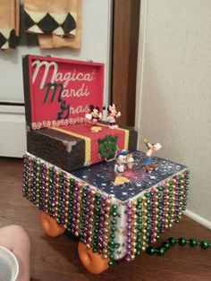 Shoe box mardi gras float